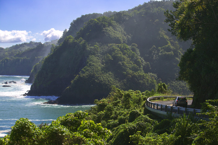 the road winds around the tree-covered sea cliffs, as the powerful ocean waves create a misty spray.