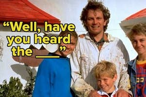 """Photo of the family from """"Round the Twist"""" with the caption, """"Well, have you heard the ____"""""""
