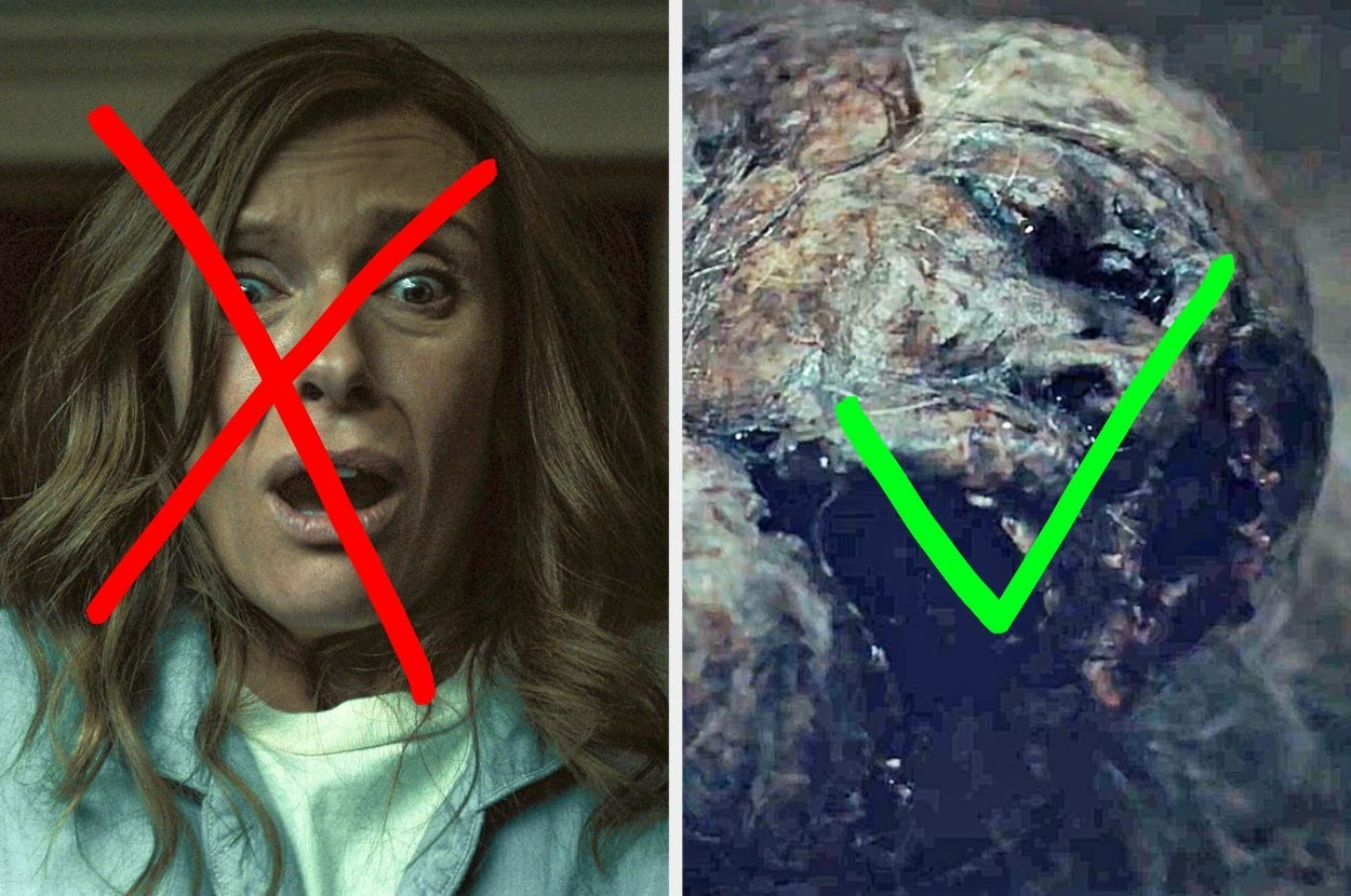 Toni Collette in Hereditary screaming next to the decaying monster from Relic