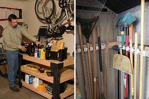 to the left: a model using a work bench, to the right: organized brooms and rakes
