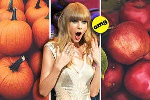 Taylor Swift choosing between pumpkins and apples