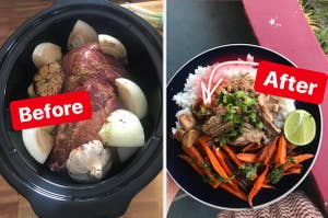 A crock-pot with raw ingredients on the left / a finished meal on the right