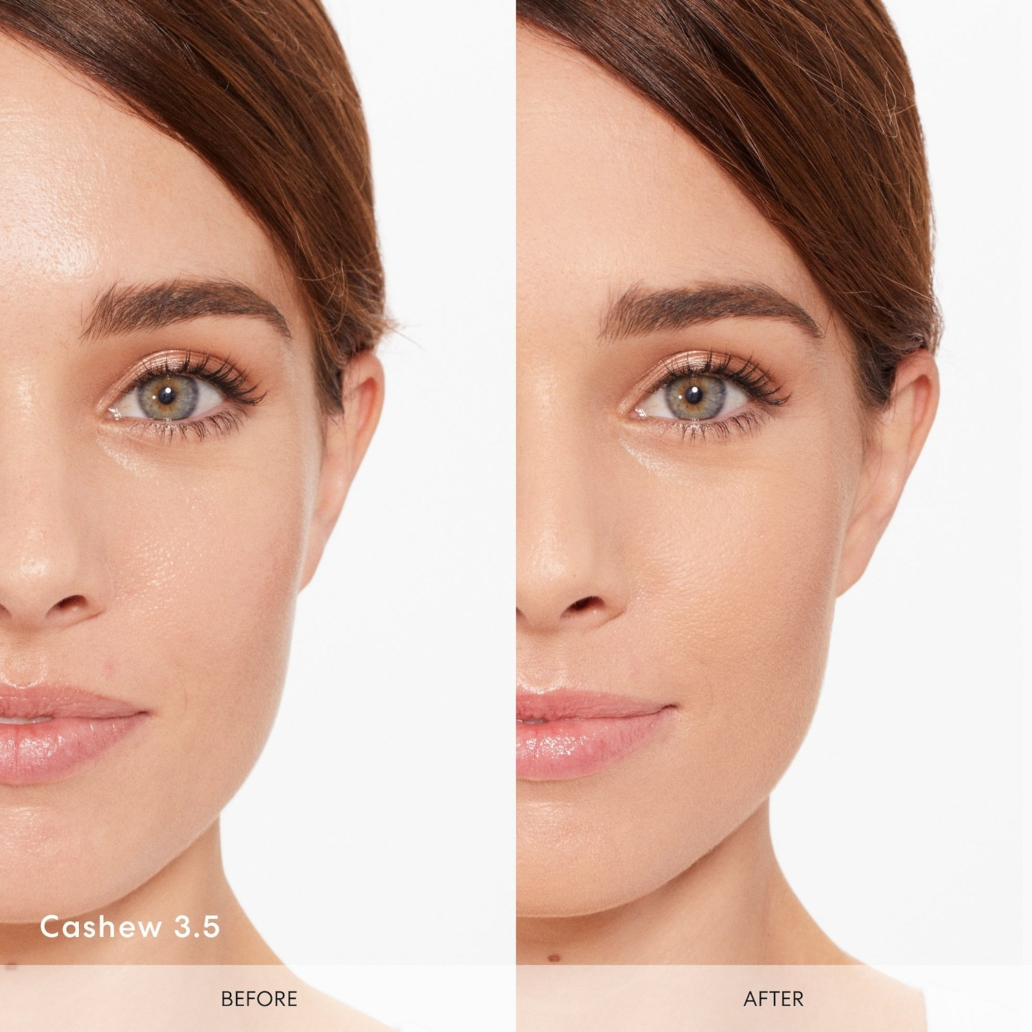Model with minor blemishes and slight redness / Same model with evened out skin