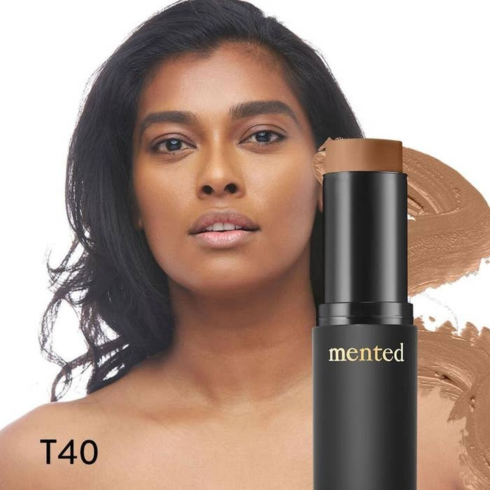 Model wearing the foundation, a shade swatch, and the foundation stick