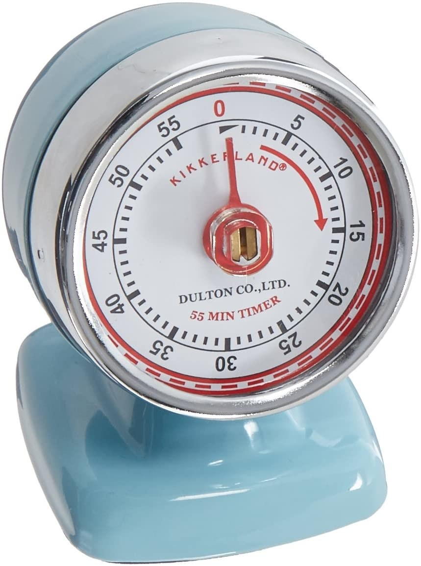 the timer in blue showing the minute times ranging from five to fifty five