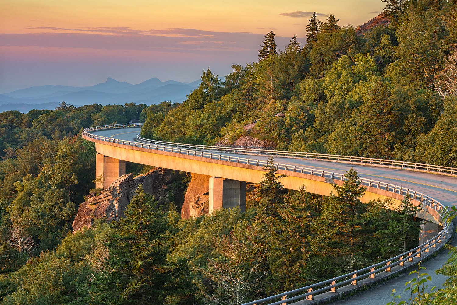 morning light spills out on the Lynn Cove viaduct along the Blue Ridge Parkway