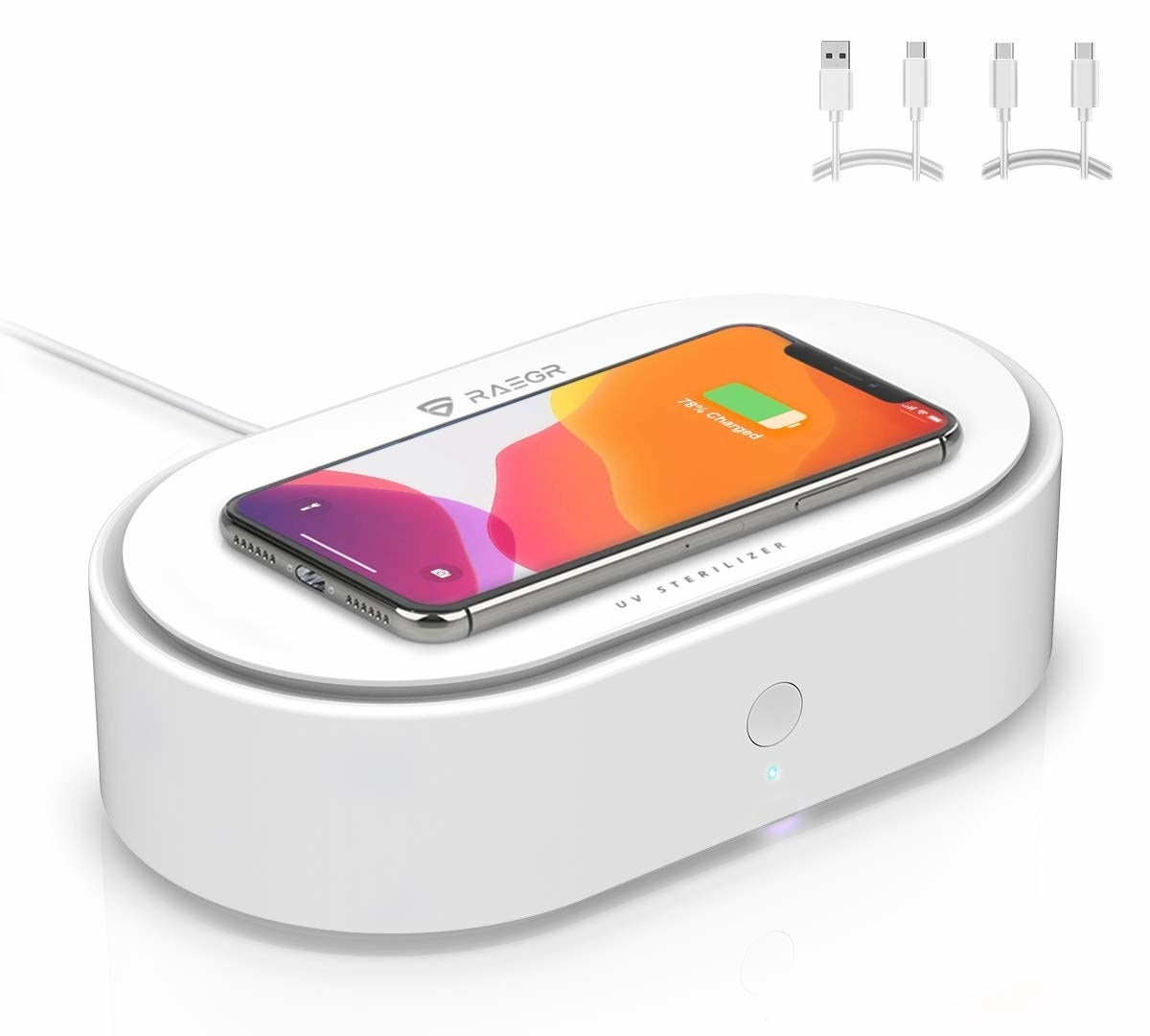 A white RAEGR Arc 1500 device with an iPhone being wirelessly charged on it