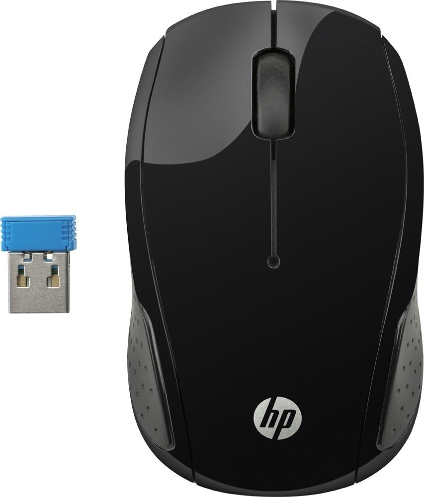 A black HP 200 wireless mouse with a bluetooth USB connector