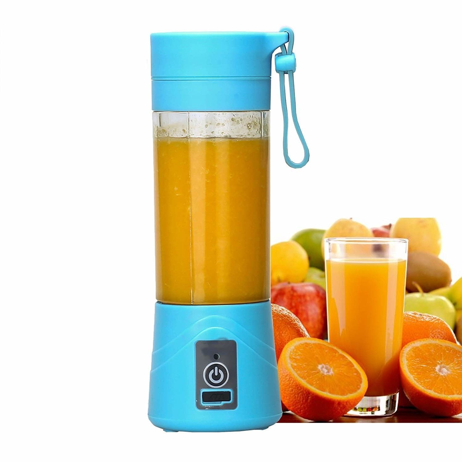 A blue GaxQuly Juicer and Blender filled with juice next to different fruits and a glass of juice