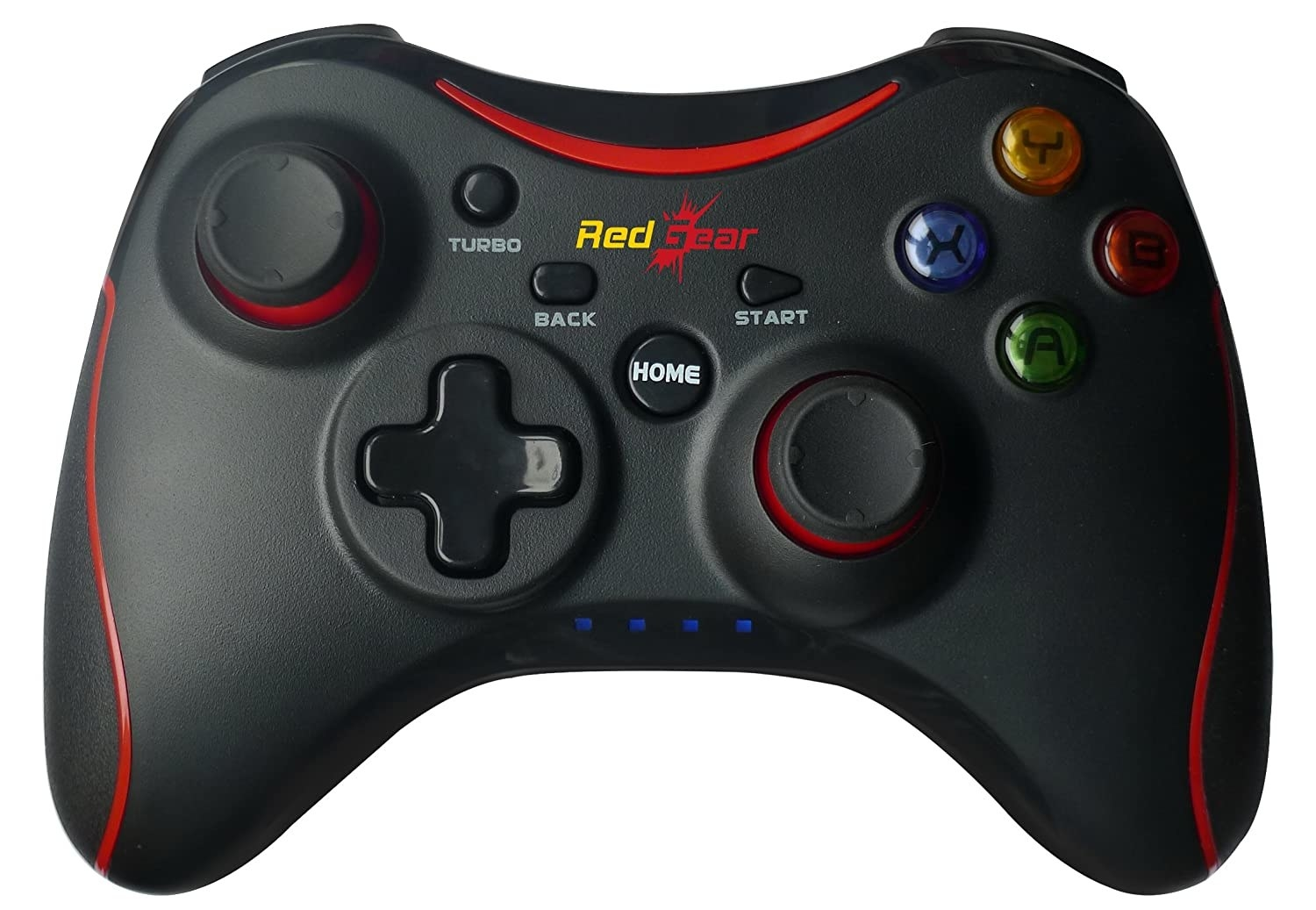 A black and red Redgear Pro Wireless Gamepad
