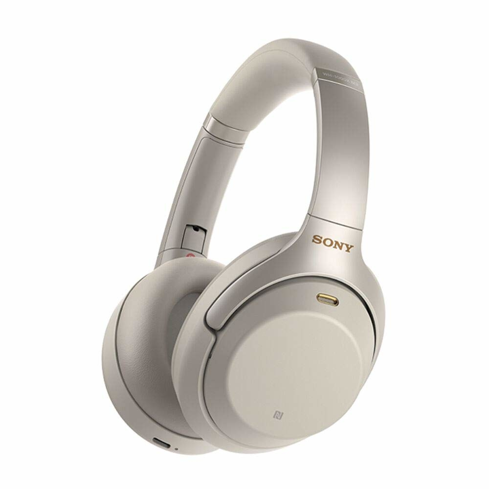 White Sony WH-1000XM3 wireless headphones