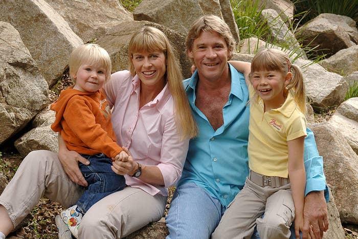 Steve Irwin poses with his wife Terri and kids Bindi and Robert at Australia Zoo