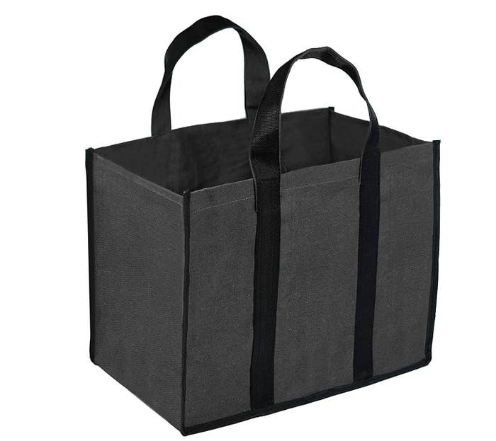 A grey and black canvas bag