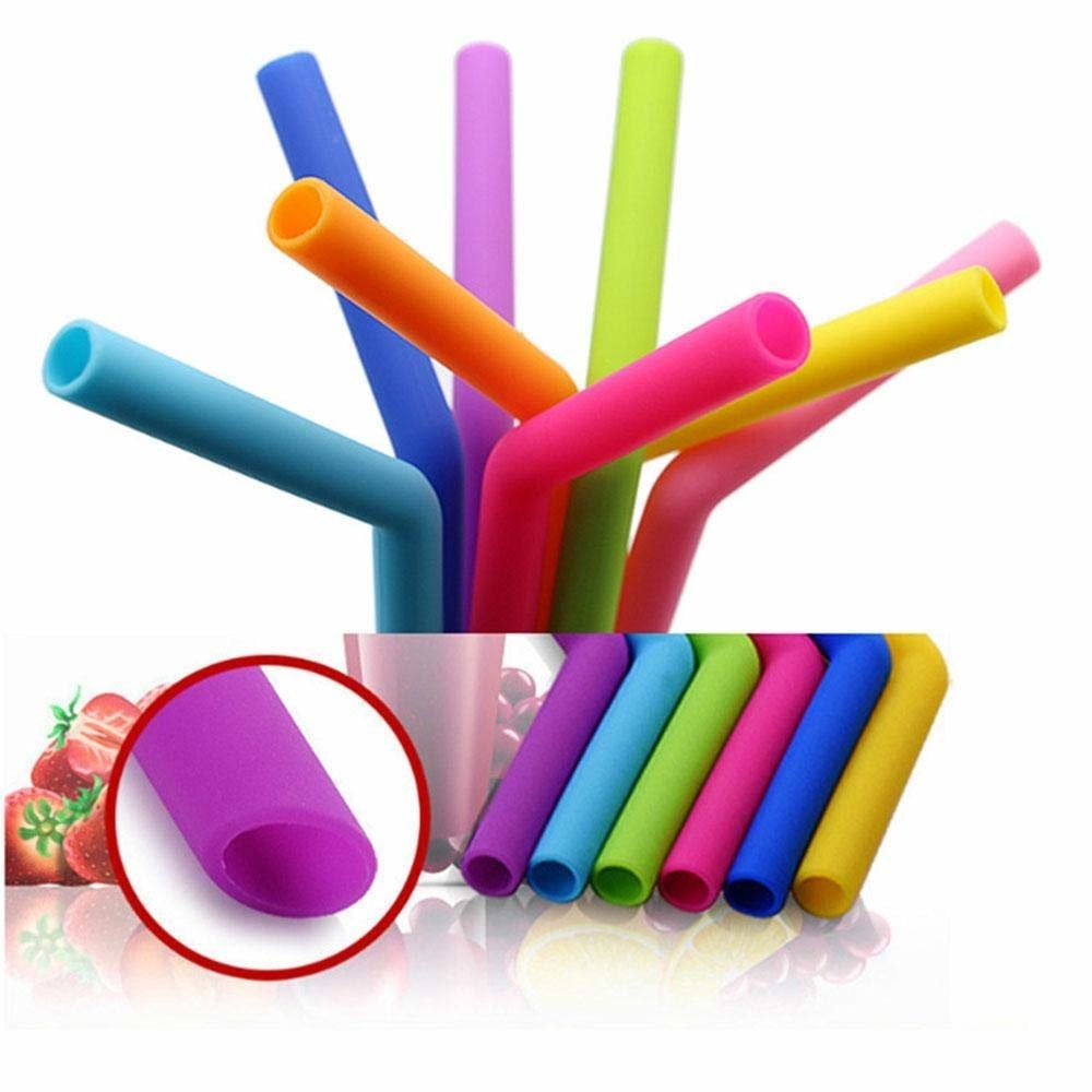 Reusable silicone straws in multiple colours