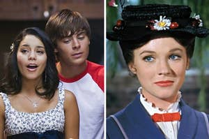 Troy and Gabriella are on the left singing with Mary Poppins on the right