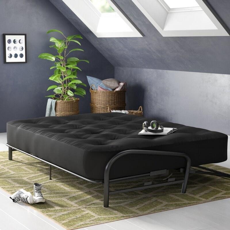 A black fiber futon mattress