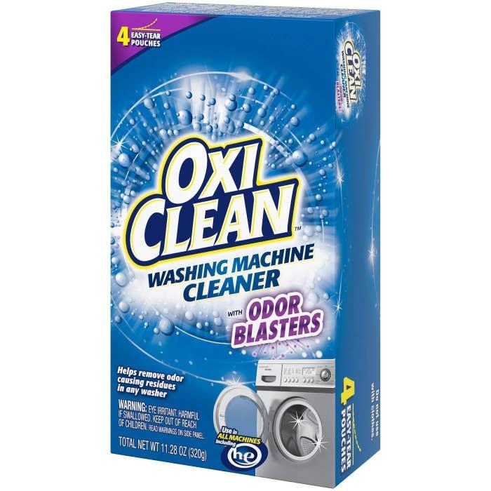 Box of OxiClean washing machine cleaner