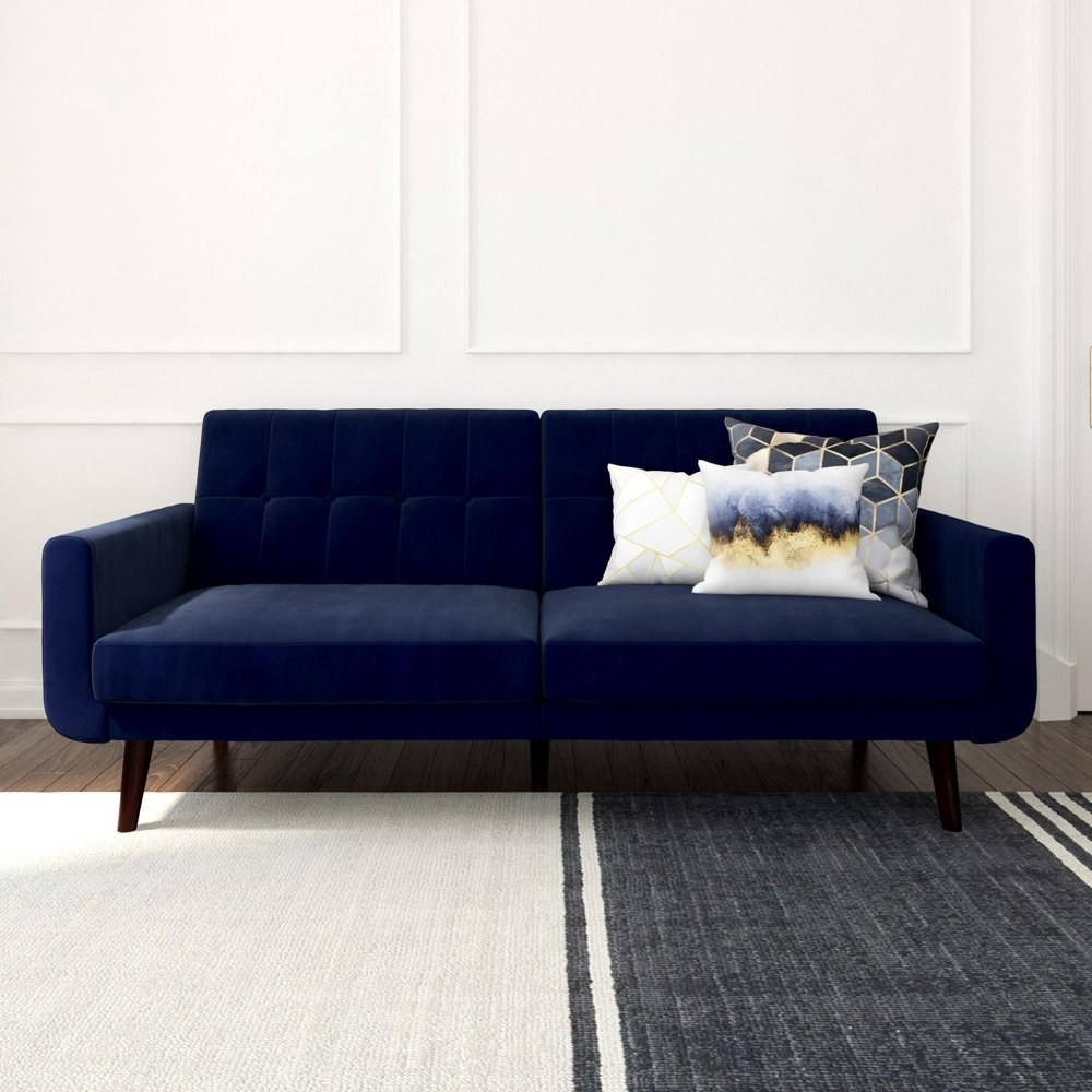 The blue velevet-y couch