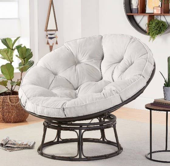 The chair with grey cushion