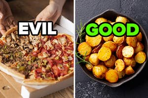 """A box of pizza is on the left labeled, """"Evil"""" with potatoes labeled, """"Good"""" on the right"""