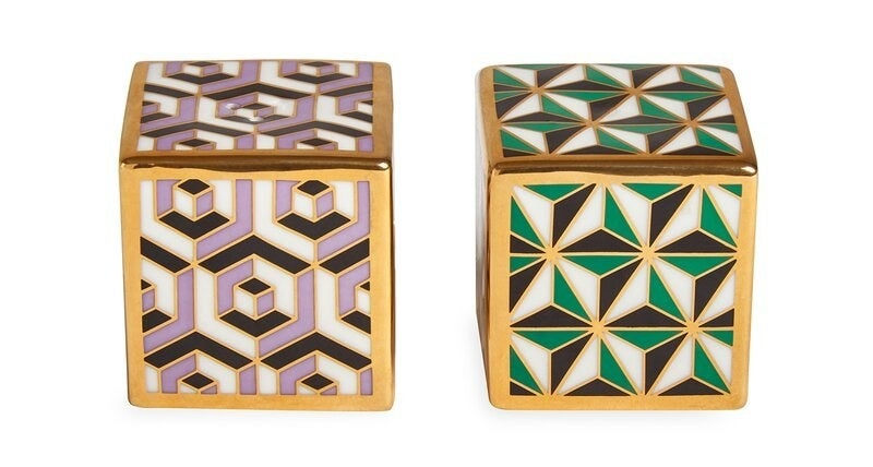 The geometric-patterned salt and pepper shakers
