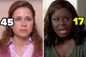 """Pam from """"The Office"""" is on the left labeled """"45"""" with Ruby from """"Good Girls"""" labeled """"17"""" on the right"""