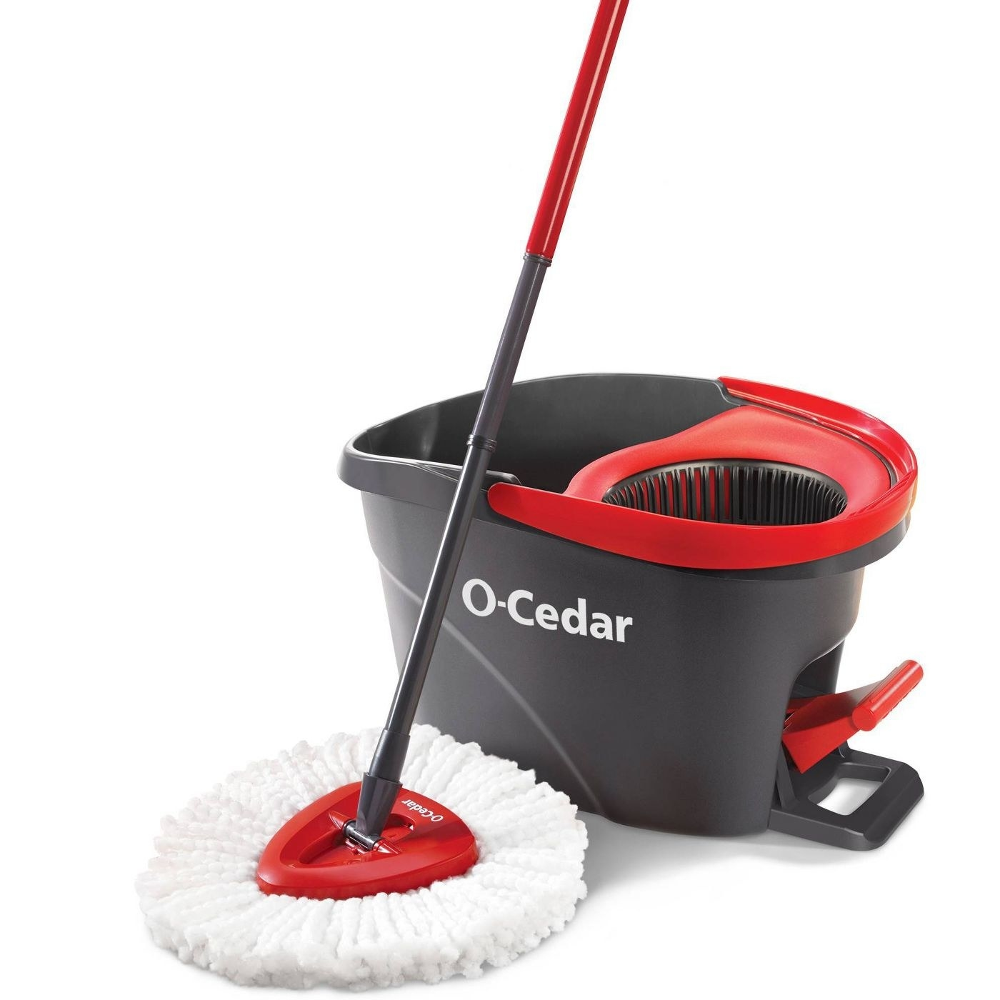 Mop and bucket with easy-wring system attached