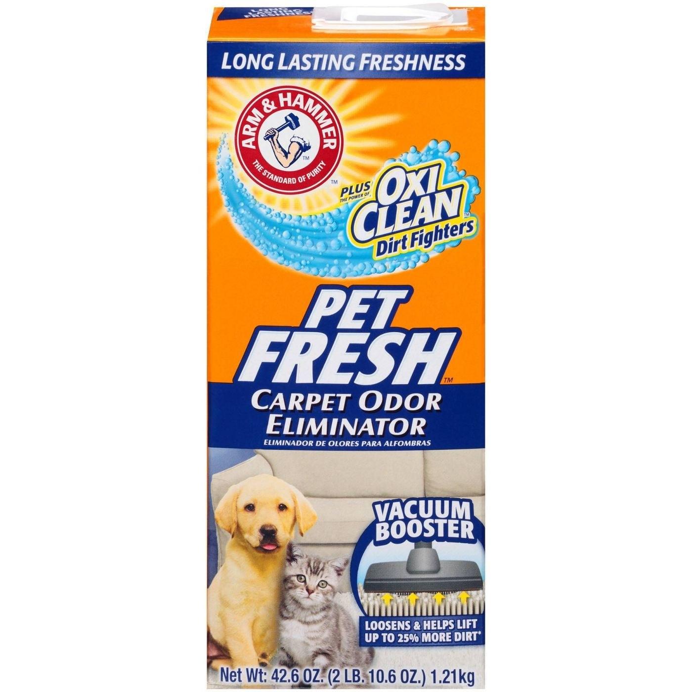 Package of carpet odor eliminator