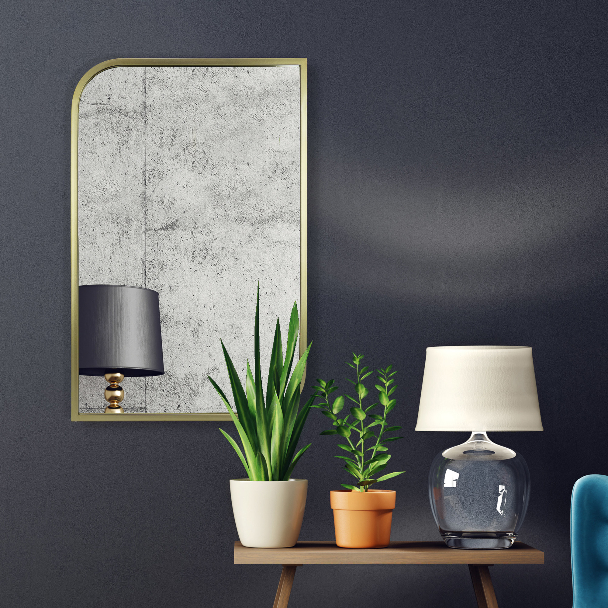 The gold mirror hanging