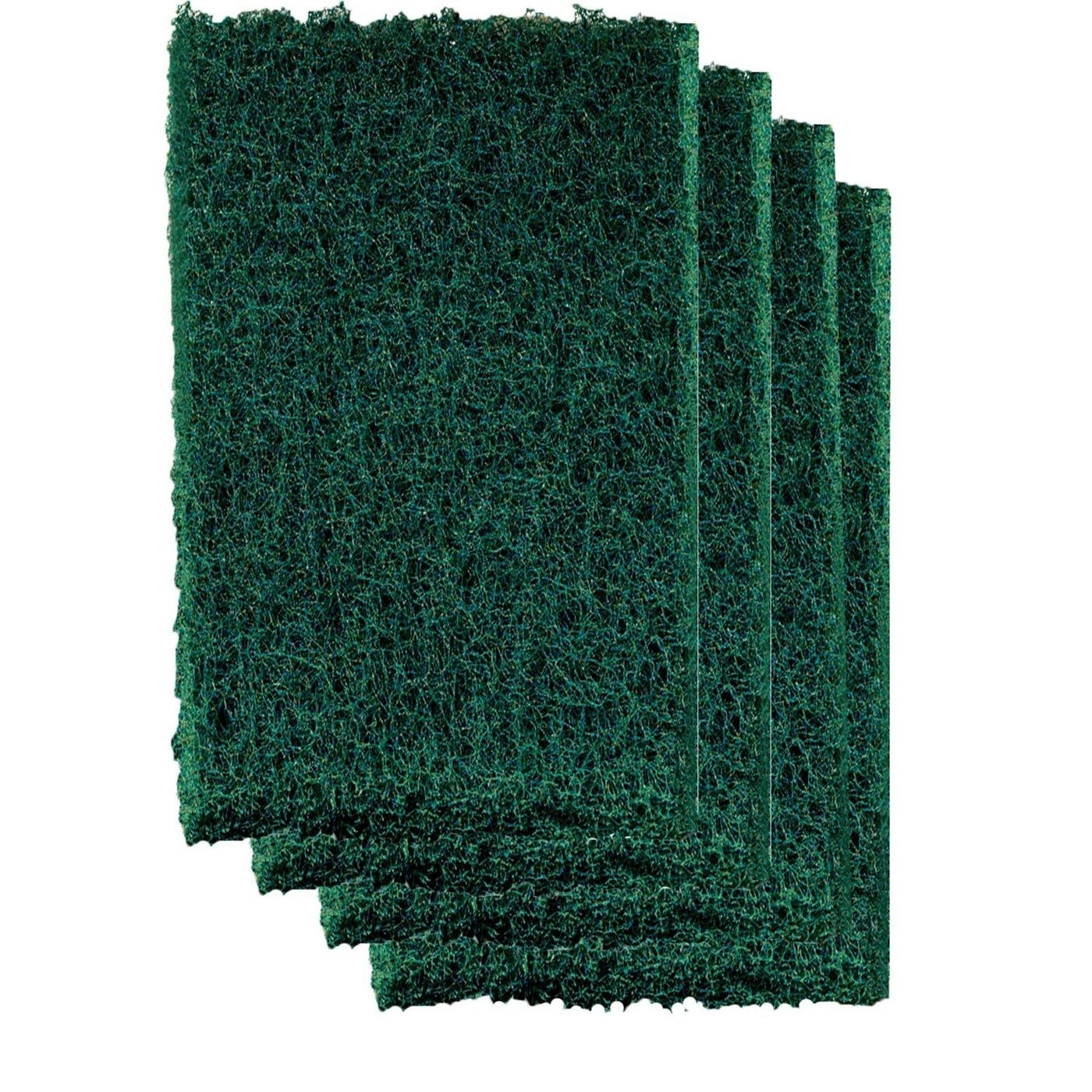 Four green scouring sponges