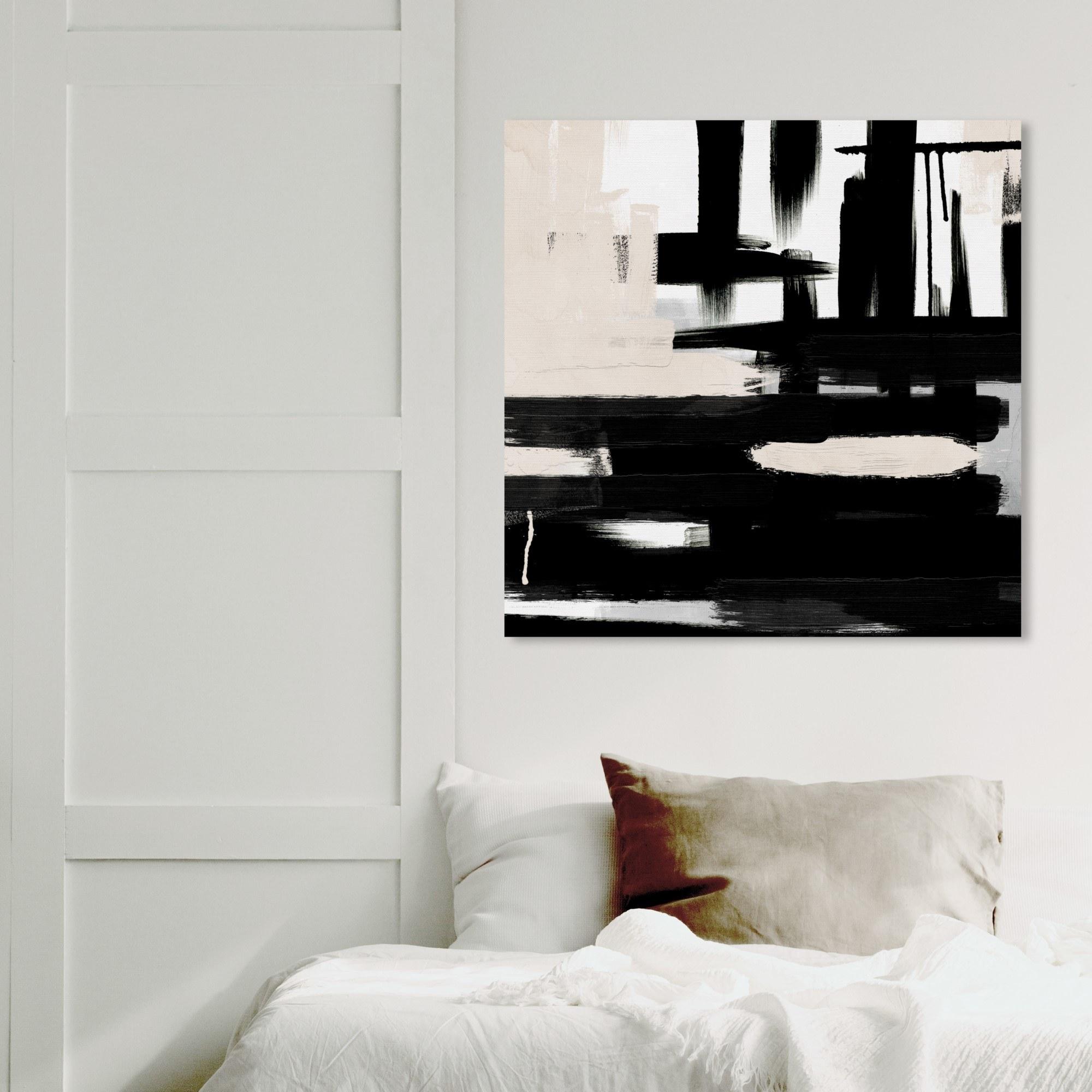 The black and white painting hanging