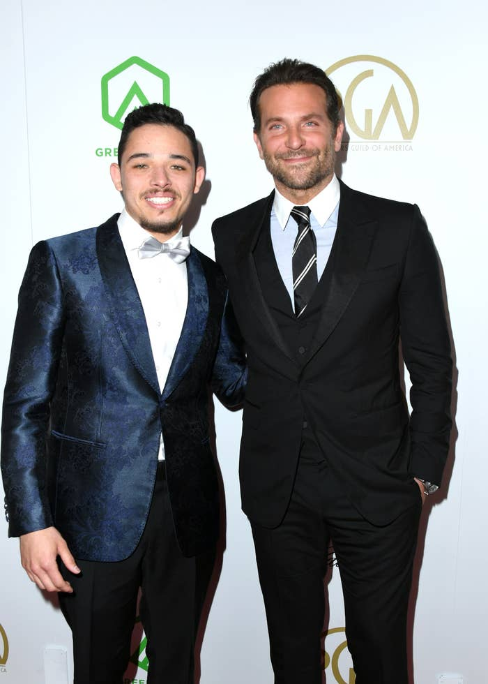 Anthony Ramos (L) and Bradley Cooper attend the 30th annual Producers Guild Awards at The Beverly Hilton Hotel.