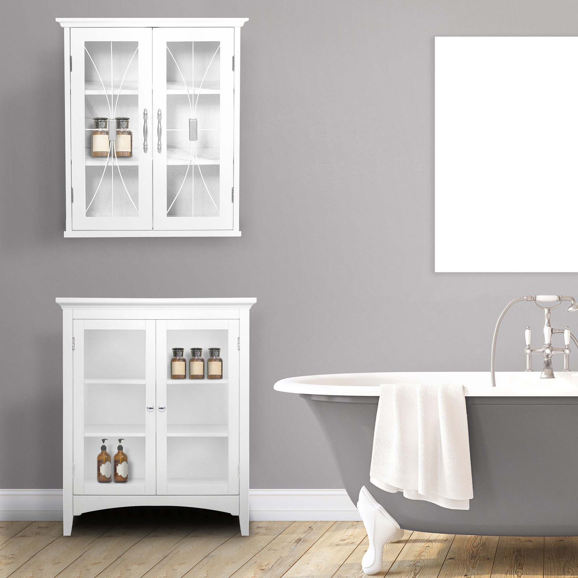 The white cabinet hanging