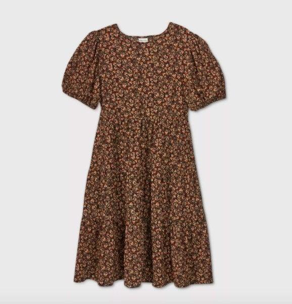 The red short-sleeve midi dress
