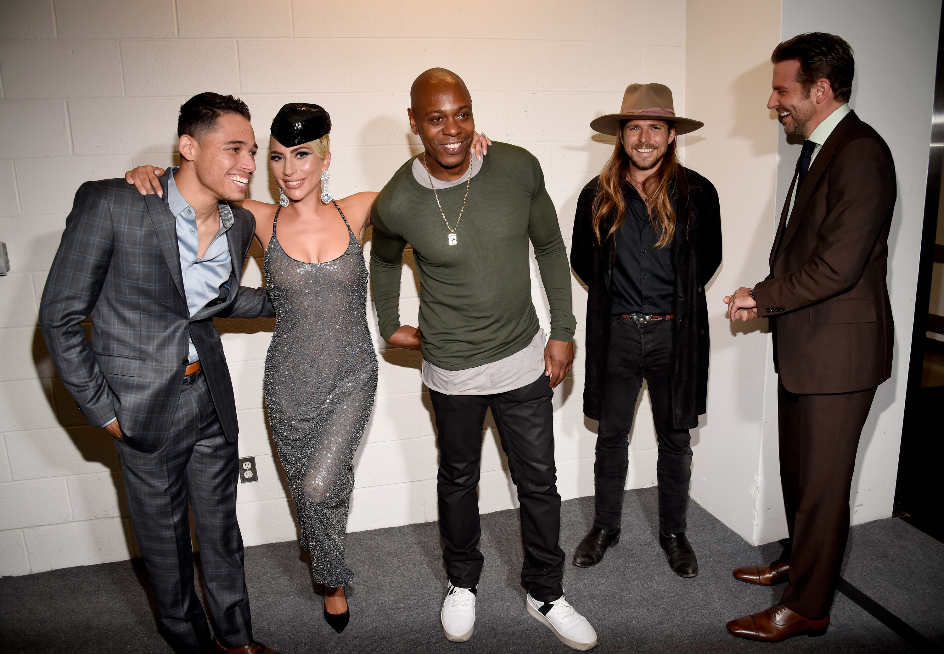 "(L-R) Anthony Ramos, Lady Gaga, Dave Chappelle, Lukas Nelson and Bradley Cooper attend the ""A Star Is Born"" premiere."
