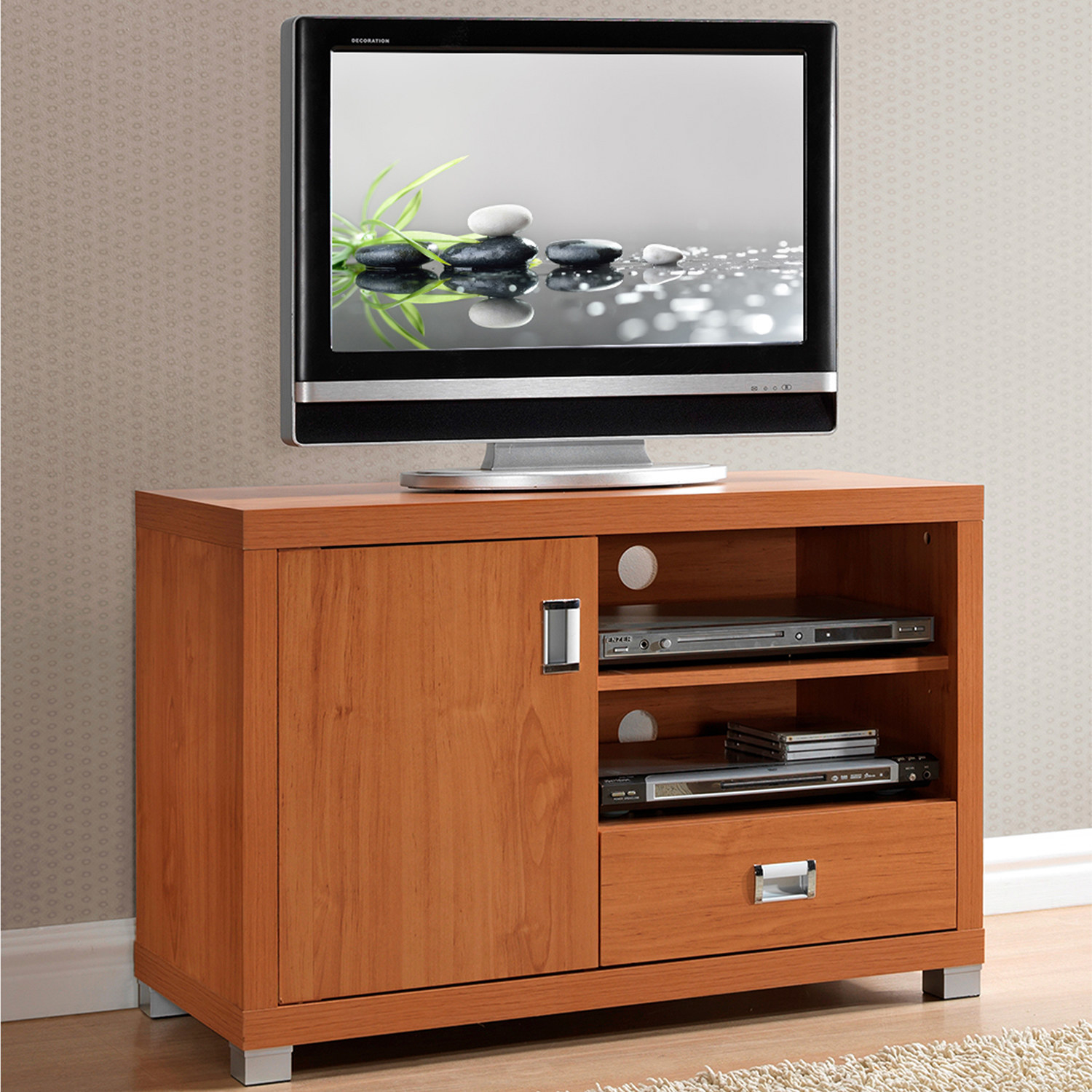 The brown TV  stand
