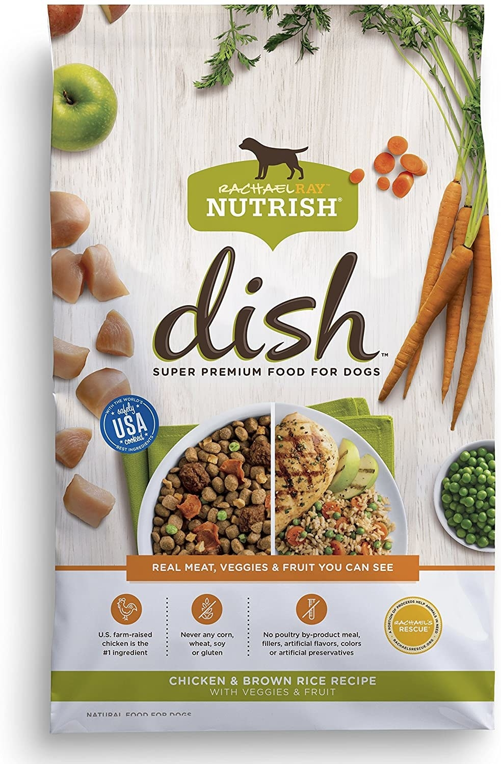 bag of rachael ray nutrish dog food with meat, veggies, and fruit