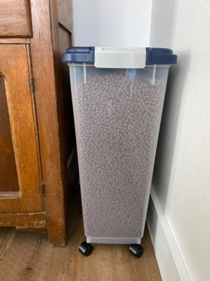 food storage container full of pet food