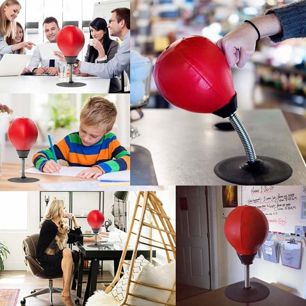 A compilation of images with the punching ball in different situations, such as on a desk where people are working, a hand punching the ball, etc.