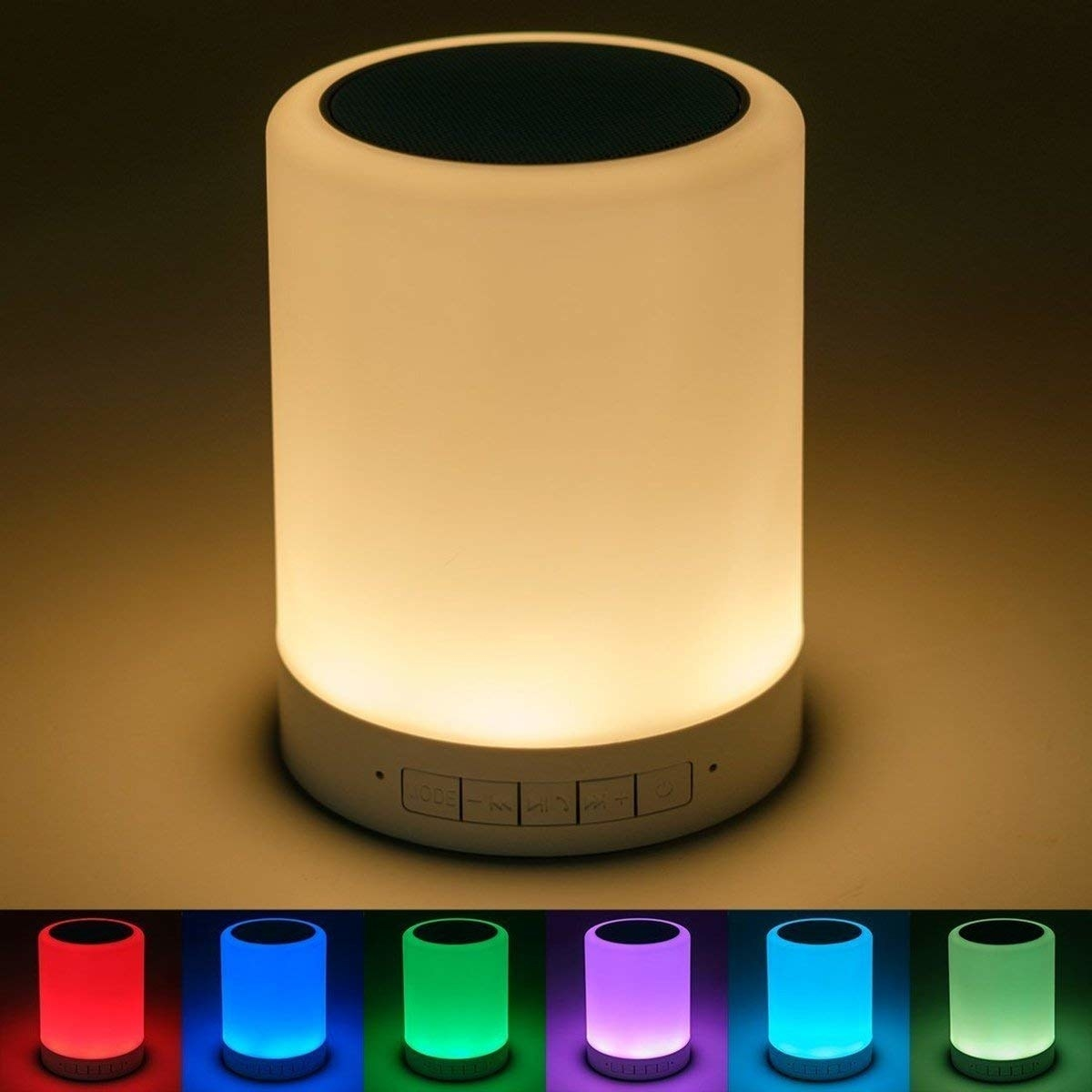 A bluetooth speaker and table lamp device, with different colour options displayed in a collage