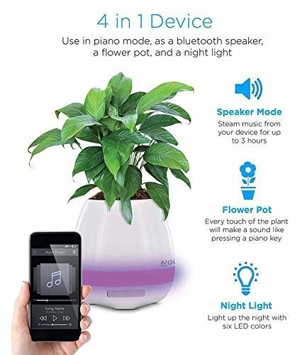 A white smart flower pot with a plant and purple night light. A hand holding a smartphone with a music app open. Some features of the smart pot are listed alongside.