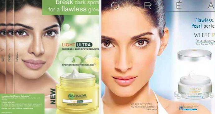 actress priyanka chopra as the face of garnier light ultra cream while sonam kapoor promotes loreal white perfect