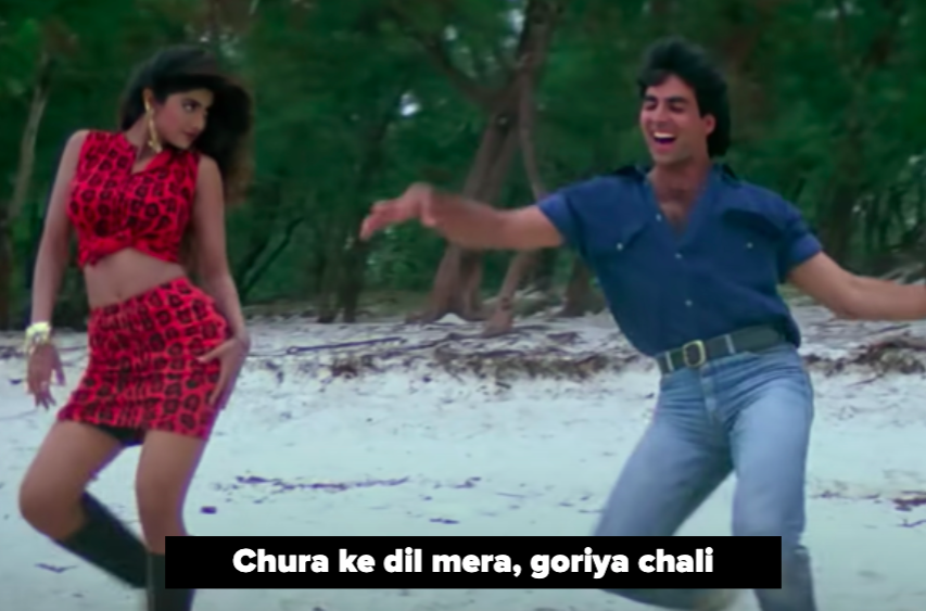 shilpa shetty and akshay kumar dance on a beach to the iconic song chura ke dil mera from main khiladi tu anari