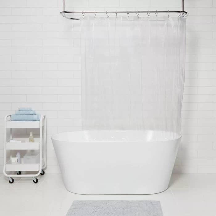 The clear shower curtain liner