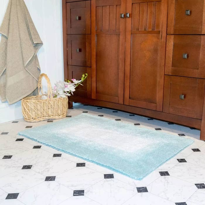 The blue ombre reversible bath rugs