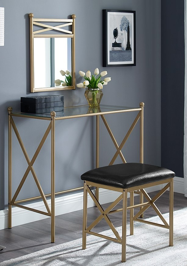 The gold and black vanity
