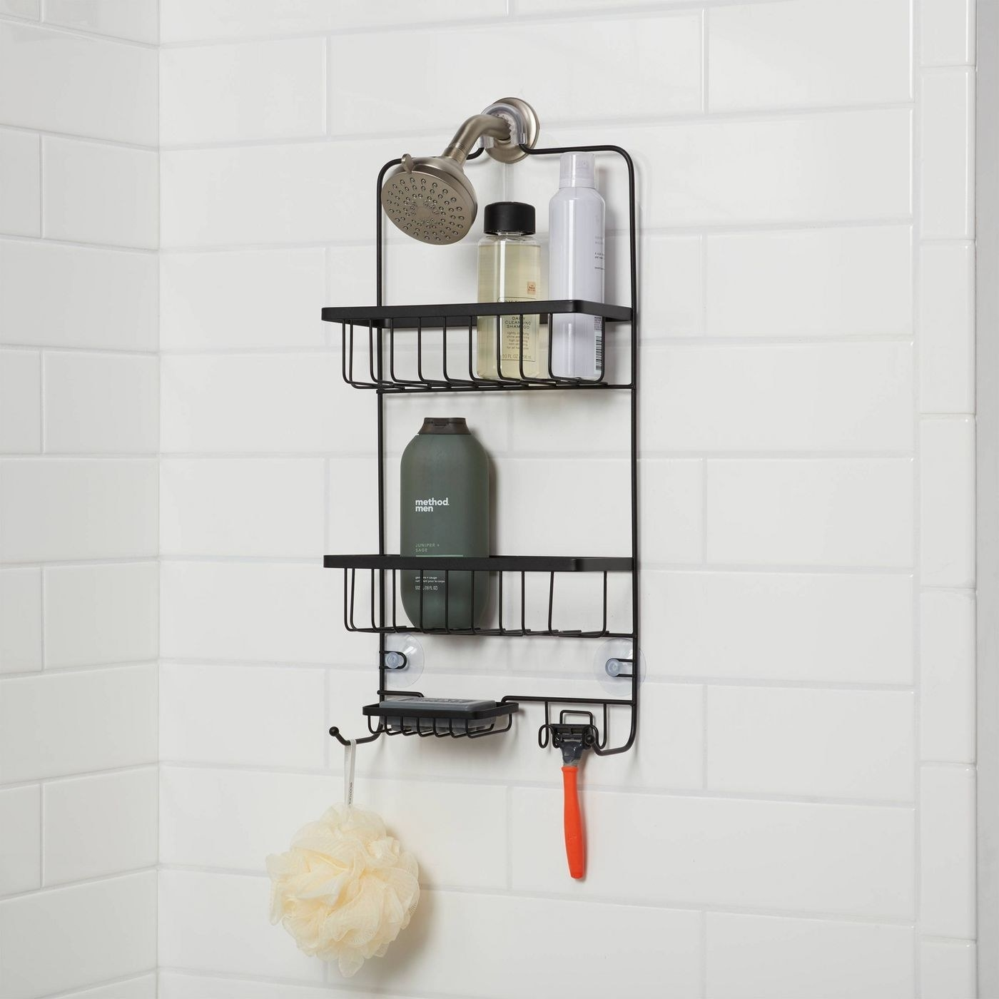 The black shower caddy