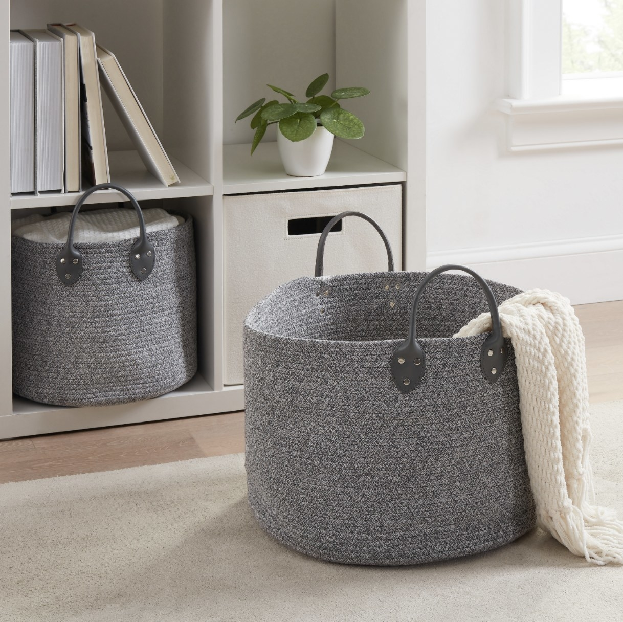 The gray baskets