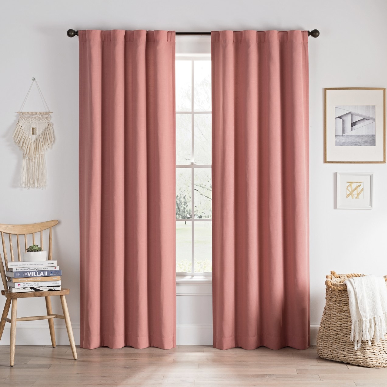 The coral curtains hanging