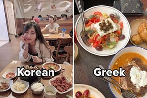 "Side by side image showing tables laid with different cuisines, left image shows food with a smiling woman sitting at the table captioned ""Korean"" right image is labelled ""Greek"""